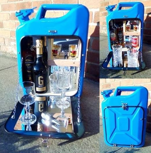 Man Cave Novelty Items : Blue jerry can bar mini camping drinks carrier