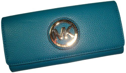 f53a421a9471 Michael Kors Fulton Flap Continental Leather Wallet Turquoise | The ...