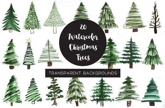 Watercolor Pine Tree Clipart Christmas Watercolor Christmas