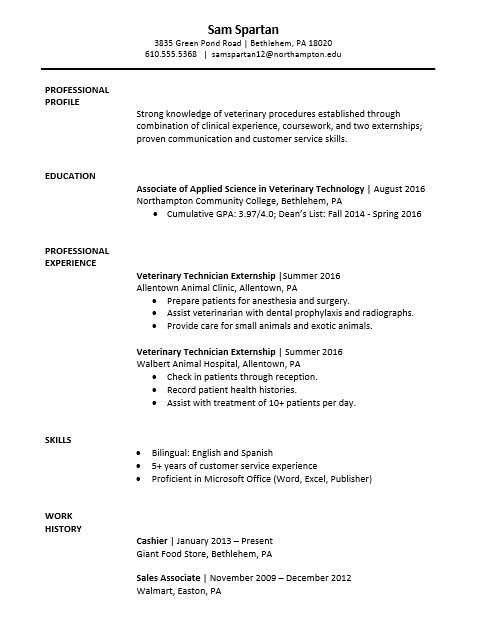 Sample resume - vet tech major Resume \ Cover Letter Pinterest - spa assistant sample resume