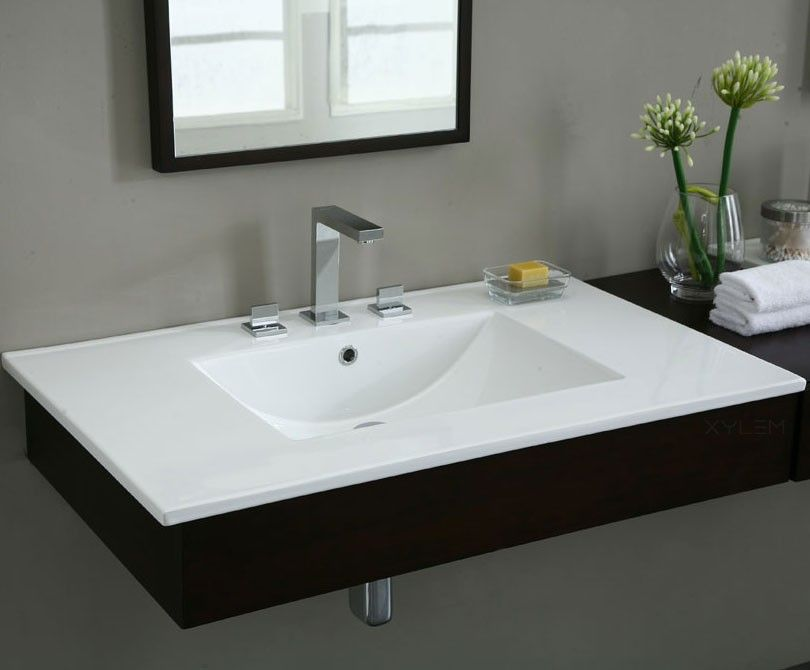Cst370wt 37 X 22 White With Square Bowl Single Faucet Hole Drilling Xylem Bathroom Vanity Tops Vanity Top Bathroon Ideas