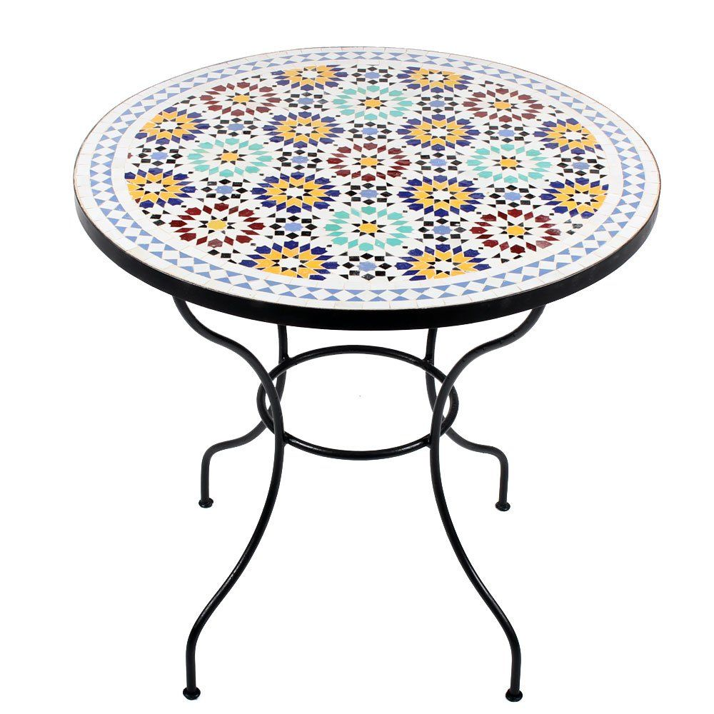 Marokkanischer Mosaiktisch Lisu 80 Cm Rund Gartentisch Bistrotisch