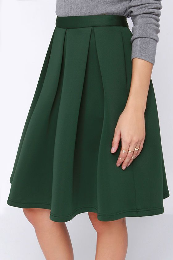d2b8e5117e0a Perfect Balance Dark Green Pleated Midi Skirt | What To Wear ...