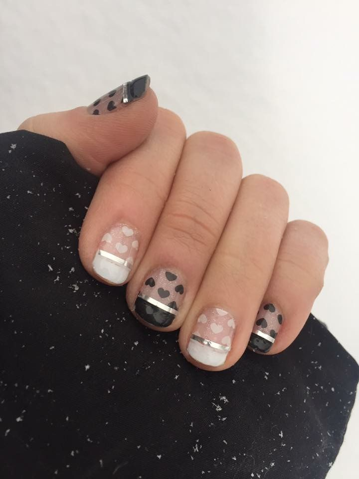 Jamberry Mixed Mani Black And White Tips Pop Heart Jamberry