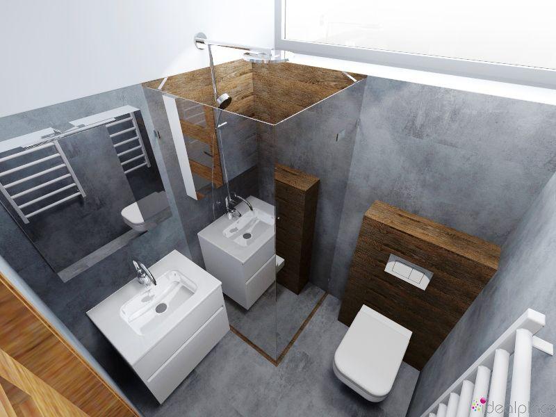 Mała łazienka Drewno Beton Concrete Szafka I Wc Koło