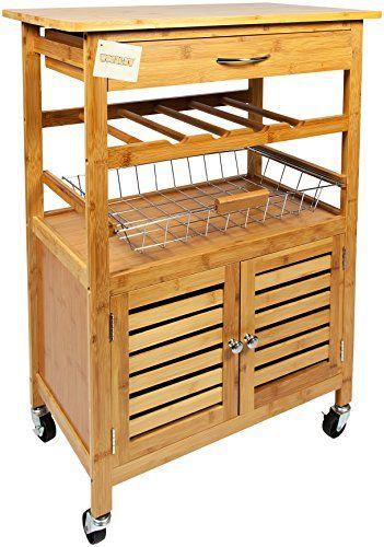 Woodluv Bambus Küche Rollwagen legen mit Schublade Bambus - küchenwagen mit schubladen