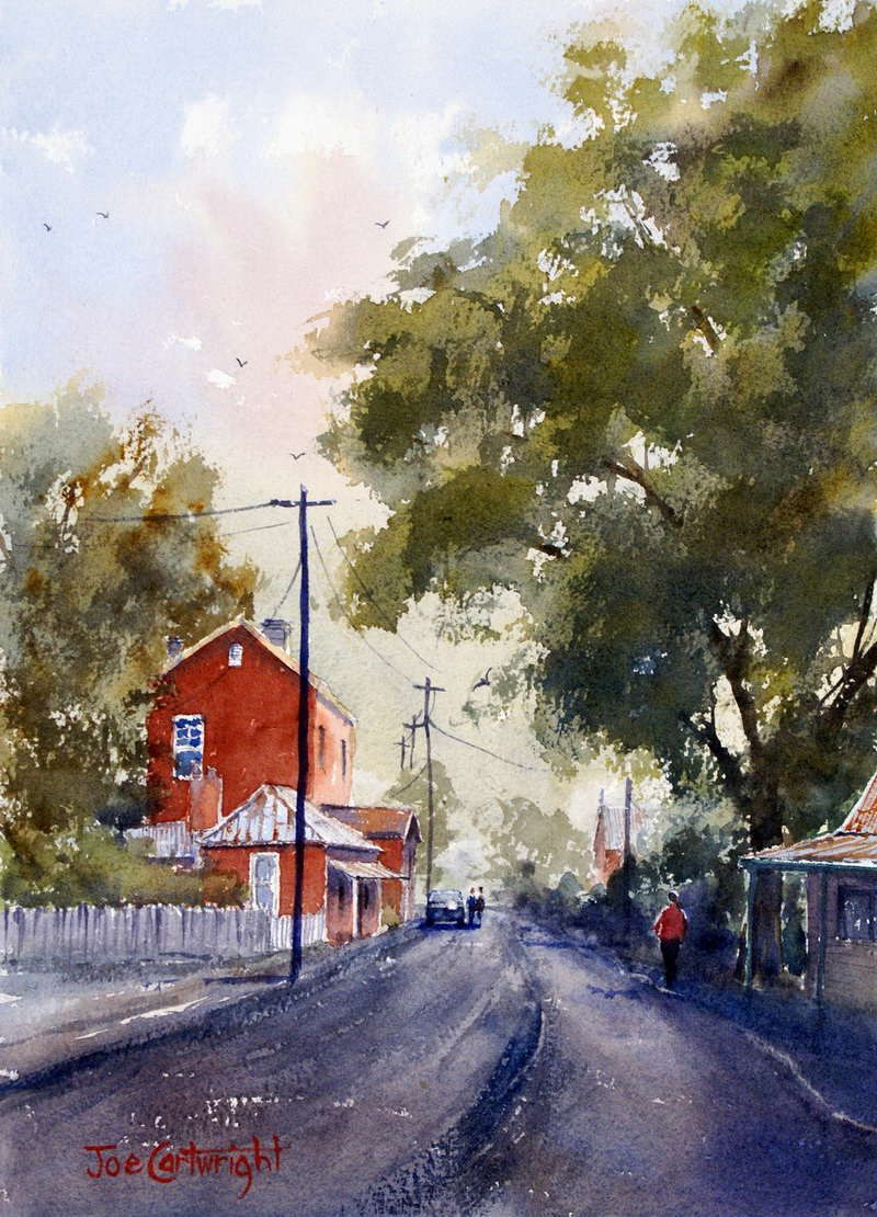 Connecticut watercolor artists directory - Sofala Main Street Watercolor Painting Old Red Post Office Building Country Lane