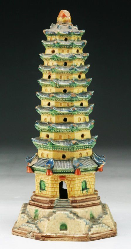 A Chinese Antique Famille Verte Porcelain Tower Qing Dynasty; Size: H: 7-1/2""