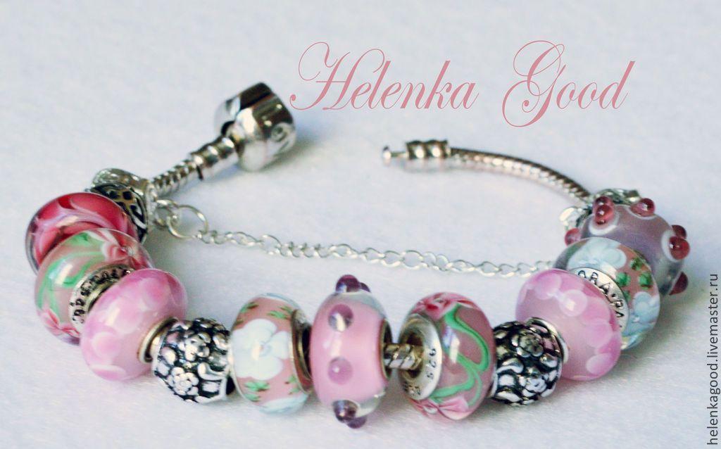 Купить Цветочно-розовый Браслет евро шарм 67 - розовый, цветочный, браслет женский