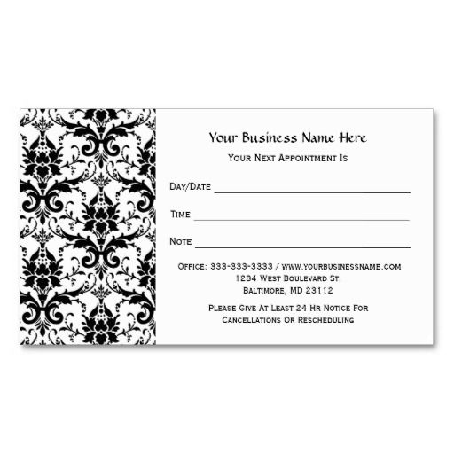 Elegant black damask pattern salon appointment pinterest card elegant black damask pattern salon appointment business card templates this is a fully customizable business card and available on several paper types for fbccfo Image collections