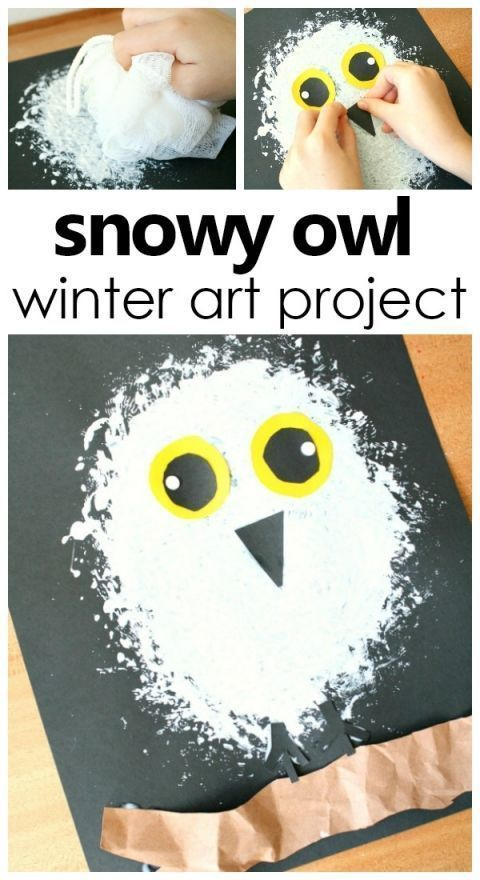 Snowy Owl Winter Stil Project pro Kinder #artforkids #kidsactivities #prek - Kunst #winterbastelnkinder