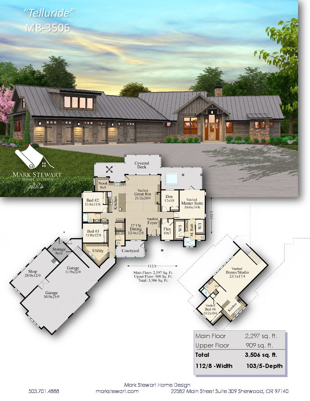 Telluride Lodge House Plan By Mark Stewart Home Design Dream House Plans Ranch House Plans House Exterior