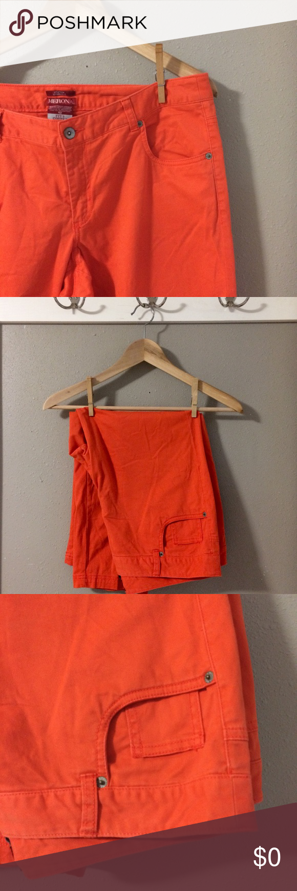 New Fall Inventory Opening August 20 New Fall Inventory Opening August 20. Merona Size 12, fit 2 relaxed fit Capri pants. Bright orange, perfect fall color! So soft! Excellent pre-loved condition. Bundle for additional discounts and seller offers. Merona Pants Capris