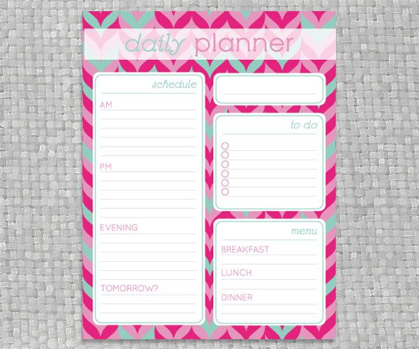 DIY+Printable+Daily+Planner++Coloful+Chevron+by+PrintableJoanie,+$ - day to day planner template free