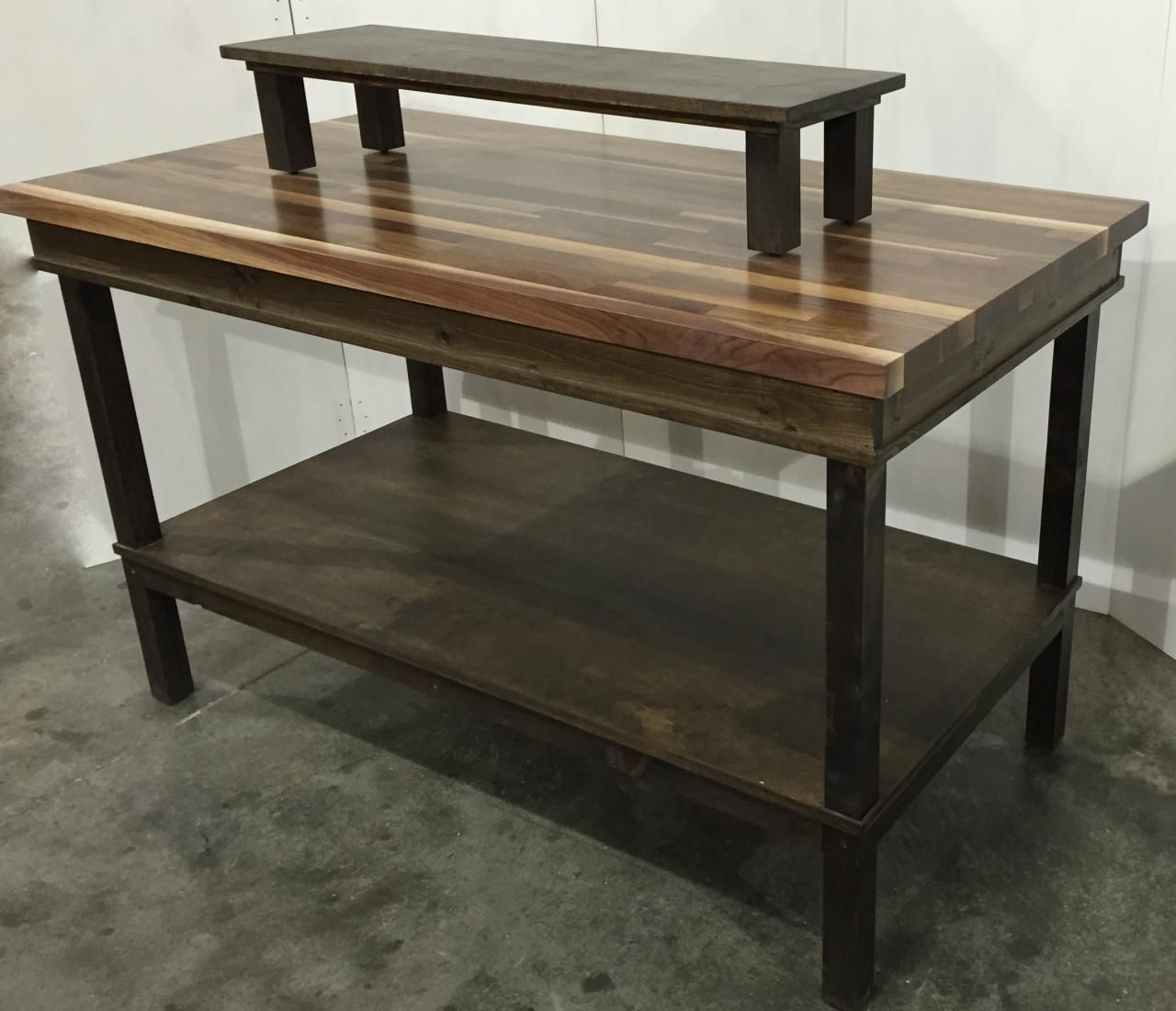 rustic wood retail display table shelf smaller rise