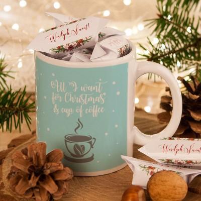 Prezent Swiateczny Kubek Krowki Z Imieniem All I Want For Christmas Place Card Holders Place Cards Table Decorations