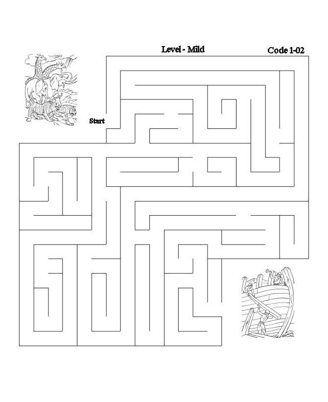 bible lesson activity maze noah and the ark - Activity Pages Printable