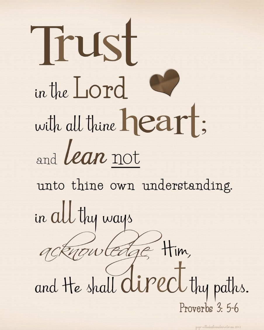 Proverbs 3:5,6 Free printable | Scripture | Scripture quotes