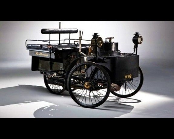 1884 De Dion Bouton et Trepardoux Dos-a-Dos Steam Runabout    The oldest running car in the world, this ancient piece of French history hit $4.62 million at RM Auctions sale in Hershey, Pa.