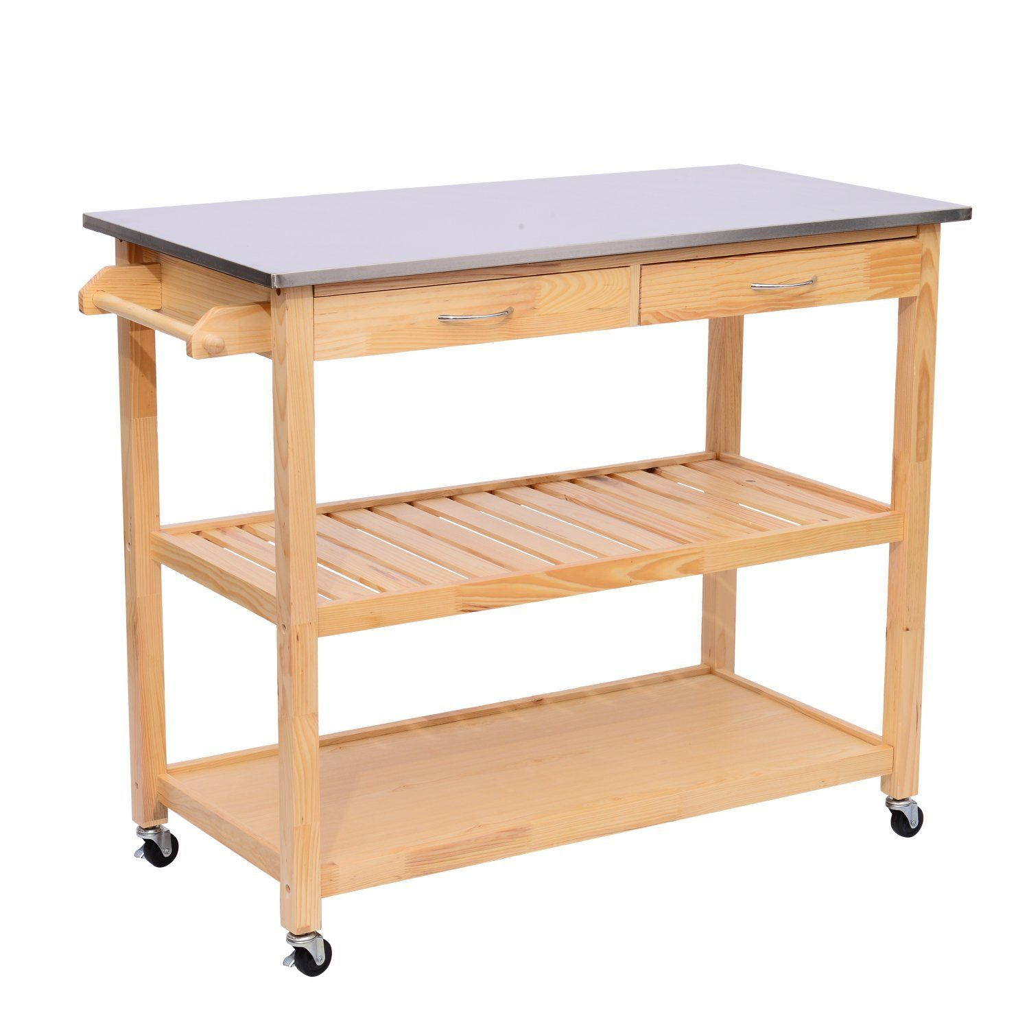 "HomCom 44"" Rolling Steel Top Wooden Storage Cart Kitchen Trolley w/ Drawers"