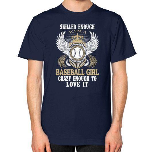 Baseball girl Unisex T-Shirt (on man)