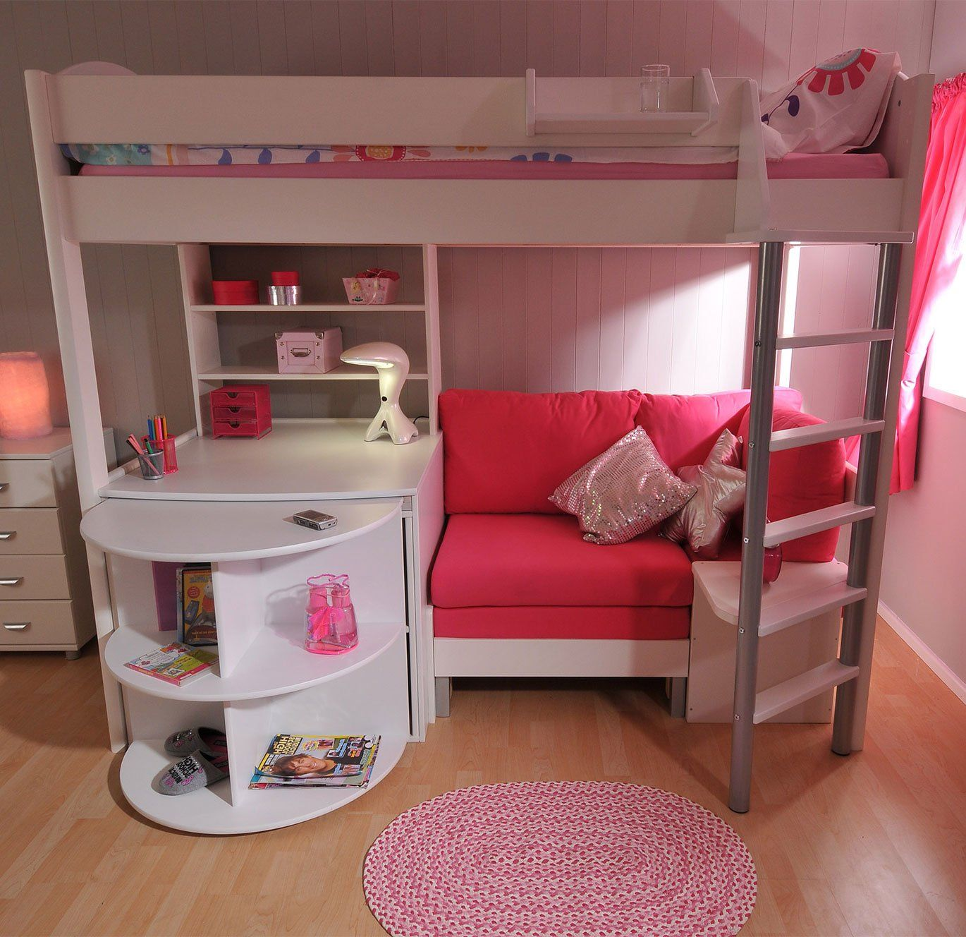 loft bed with desk and futon chair office neck support stompa casa 4 white pink sofa