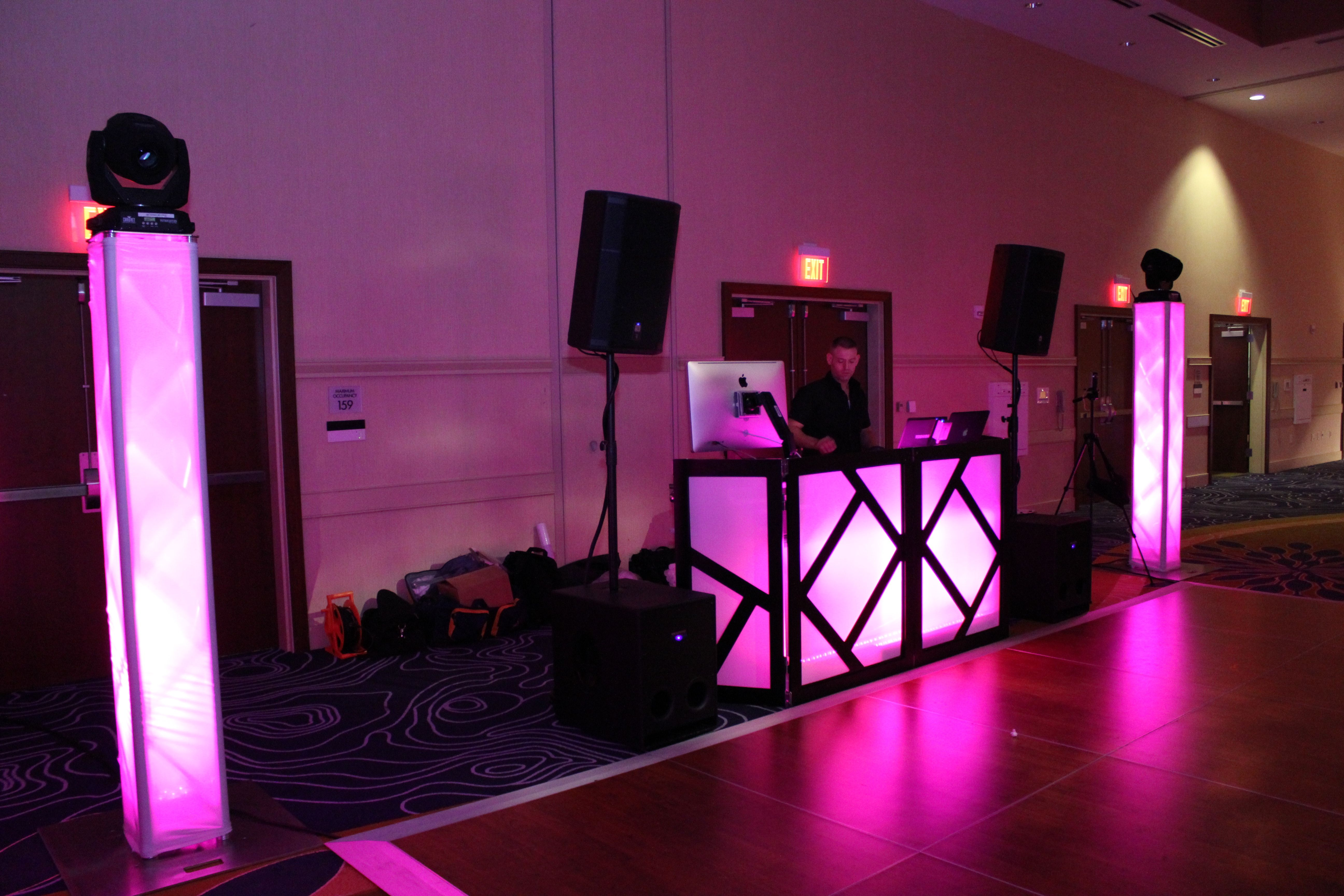 Purple Dj Facade And Trussing Towers With Moving Head