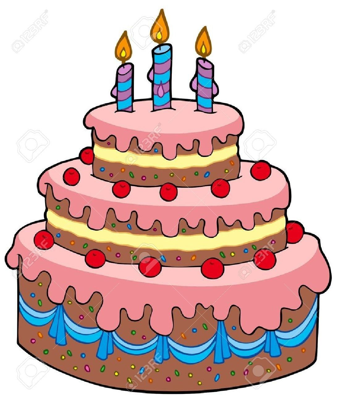 Birthday Cake Cartoon Big Cartoon Birthday Cake Vector Illustration Royalty Free Birthday Cake Clip Art Cartoon Birthday Cake Art Birthday Cake