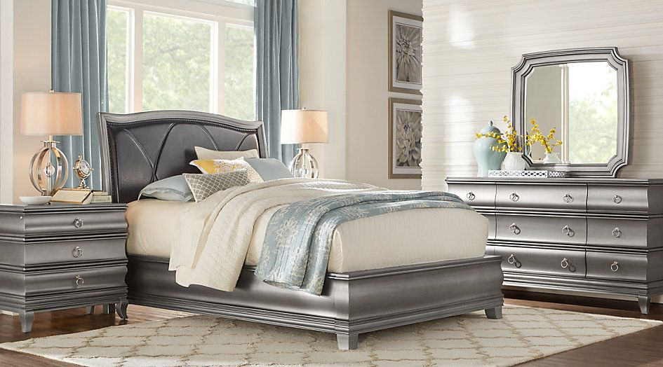Alexi Silver 5 Pc King Panel Bedroom With Chocolate Inset King
