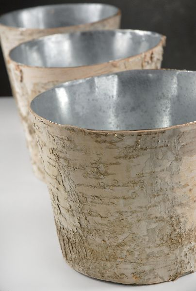 """DIY Brides Weddings Vase Decor Birch Pot w Zinc Liner Floral Square 6/"""" x 4/"""""""