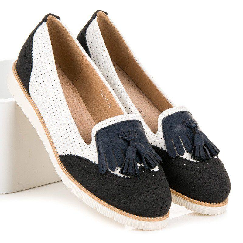 Vices Azurowe Baleriny Z Fredzlami Czarne Biale Espadrilles Flat Espadrille Shoes
