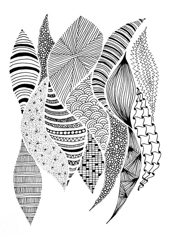 Line Art Zentangle : Zentangle sinuous curves erase the pencil outlines