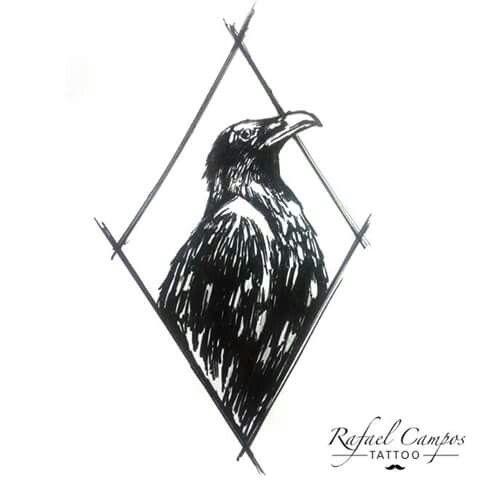 IDÉIAS PARA TATTOO  Corvo Linhas - preto  #tattoo #tattoocorvo #desenho #rabisco #crowtattoo #crow #sketchtattoo By Rafael Campos