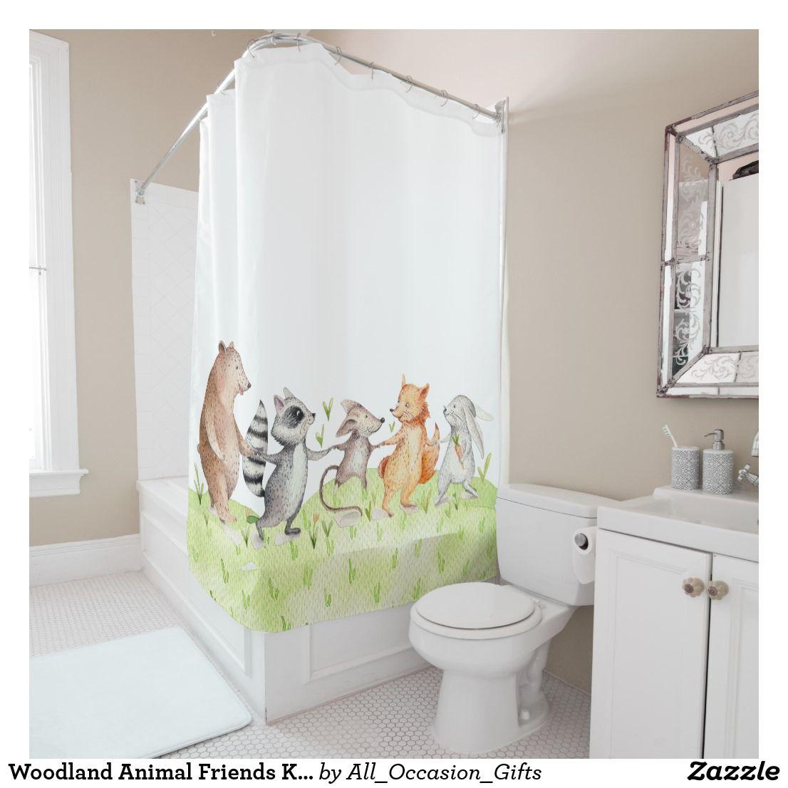 Woodland Animal Friends Kids Shower Curtain Zazzle Com In 2020