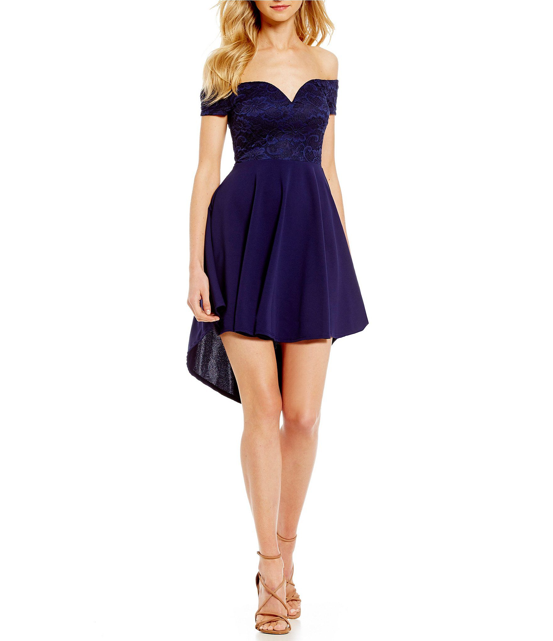 bd2a2dfd42e1 B. Darlin Off-The-Shoulder High-Low Fit-and-Flare Dress  Dillards ...
