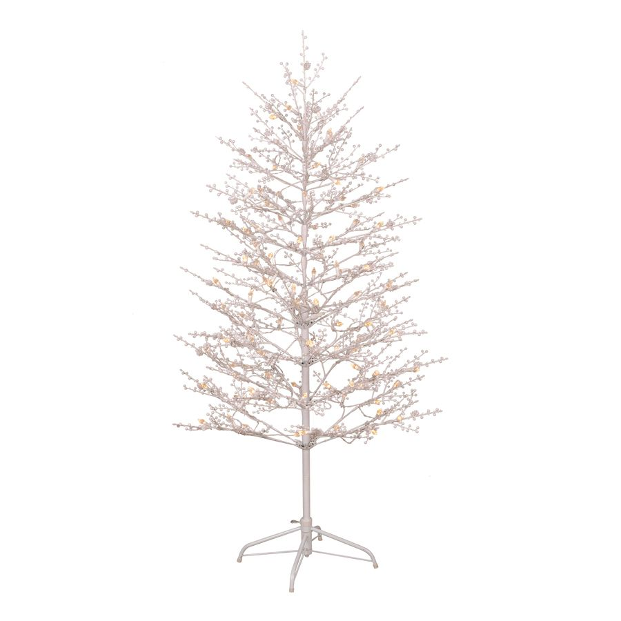 Shop GE 5-ft Pre-Lit Winterberry White Artificial