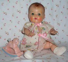 "American Character 13.5"" Molded Hair 1950s Tiny Tears Doll w/ Huge Wardrobe!"
