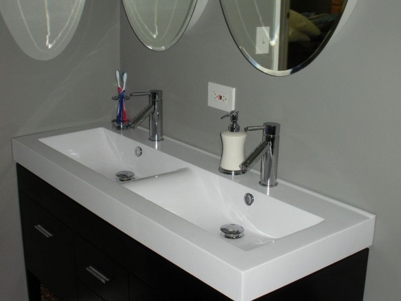 Double Faucet Bathroom Sink, Single Basin Double Faucet Bathroom Sink