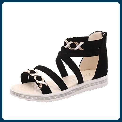 Bescita Sommer Frauen flache Schuhe Soft Leder Freizeit Damen Sandalen (39 Schwarz)