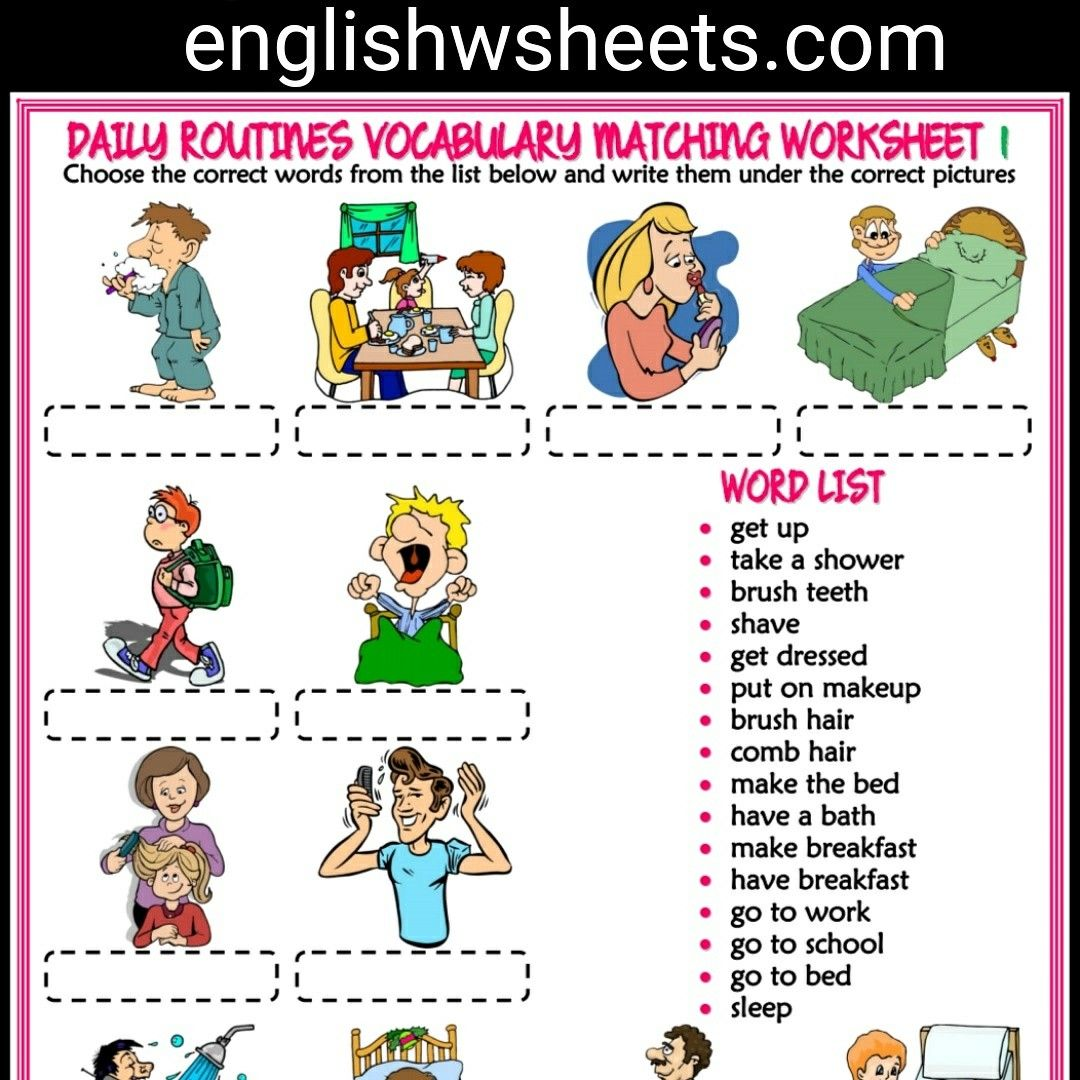 Daily Routines Esl Printable Vocabulary Worksheets With