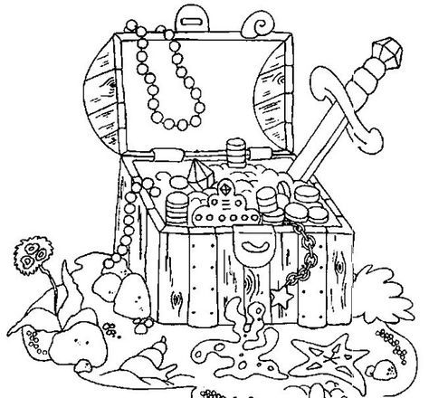 pirate treasure chest | Coloring pages: Random | Pinterest
