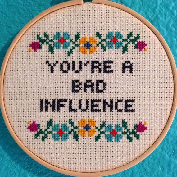 PATTERN Cross Stitch You're A Bad Influence PATTERN PDF File Fascinating Cross Stitch Flower Patterns