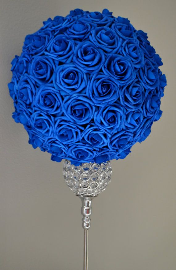 royal blue and silver wedding centerpieces%0A ROYAL BLUE Flower Ball Wedding CENTERPIECE by KimeeKouture