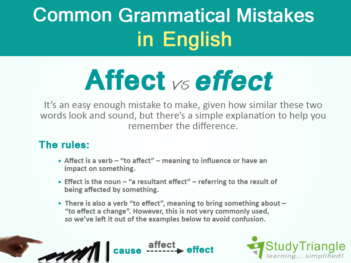 Common Grammatical Mistakes In English Affecteffect Its An Easy