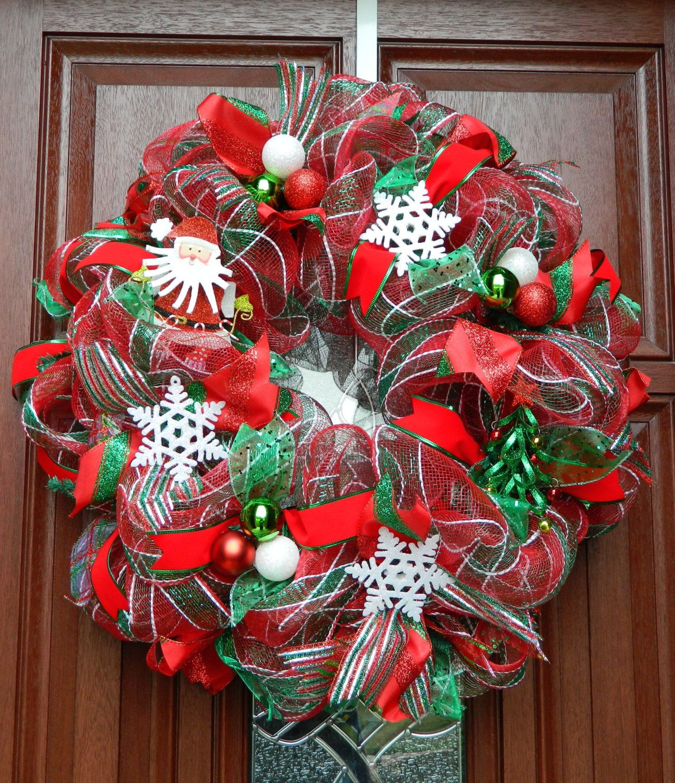Red Green Deco Mesh Christmas Wreath Santa by WhatsOnYourDoor, $85.00