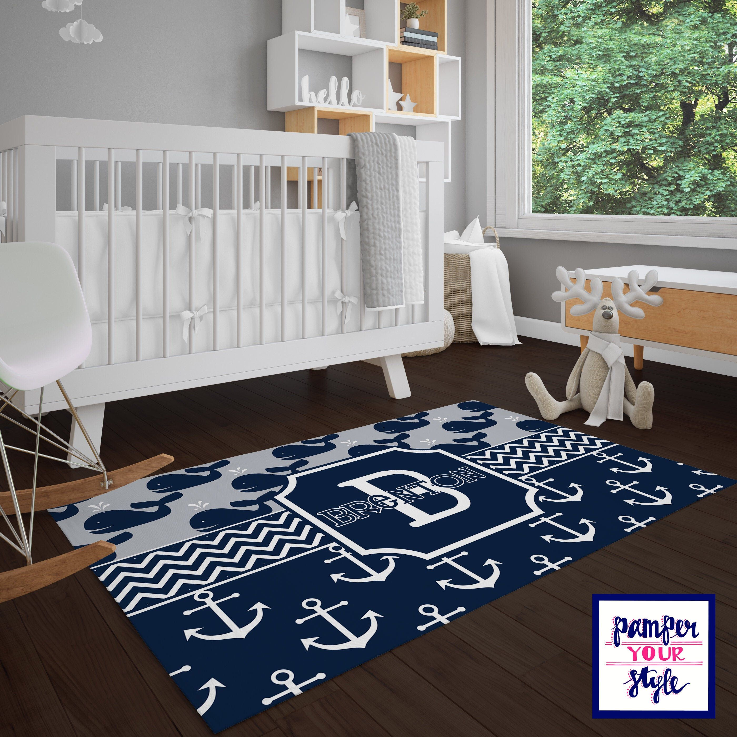 Whale Rug Gray And Navy Area Rug Nautical Nursery Rug Whale Bedroom Decor Personalized Nursery Rug In 2020 Nursery Rugs Nautical Nursery Rug Whale Nursery Rug