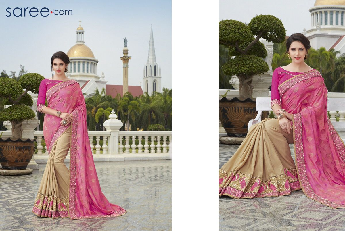 Maroon and cream wedding decor  PINK AND BEIGE BROCADE SAREE WITH EMBROIDERY WORK  Sarees