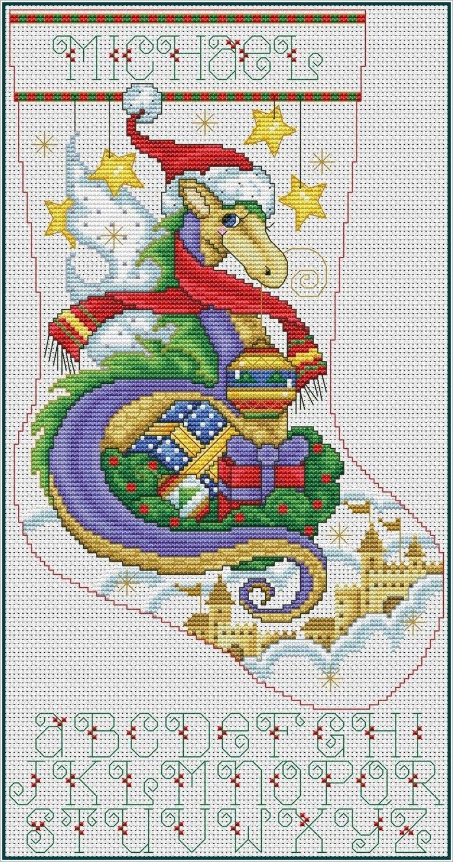 Christmas Dragon Stocking Cross Stitch Chart Pdf Xsd Dragon Cross Stitch Cross Stitch Christmas Stockings Cross Stitch Stocking
