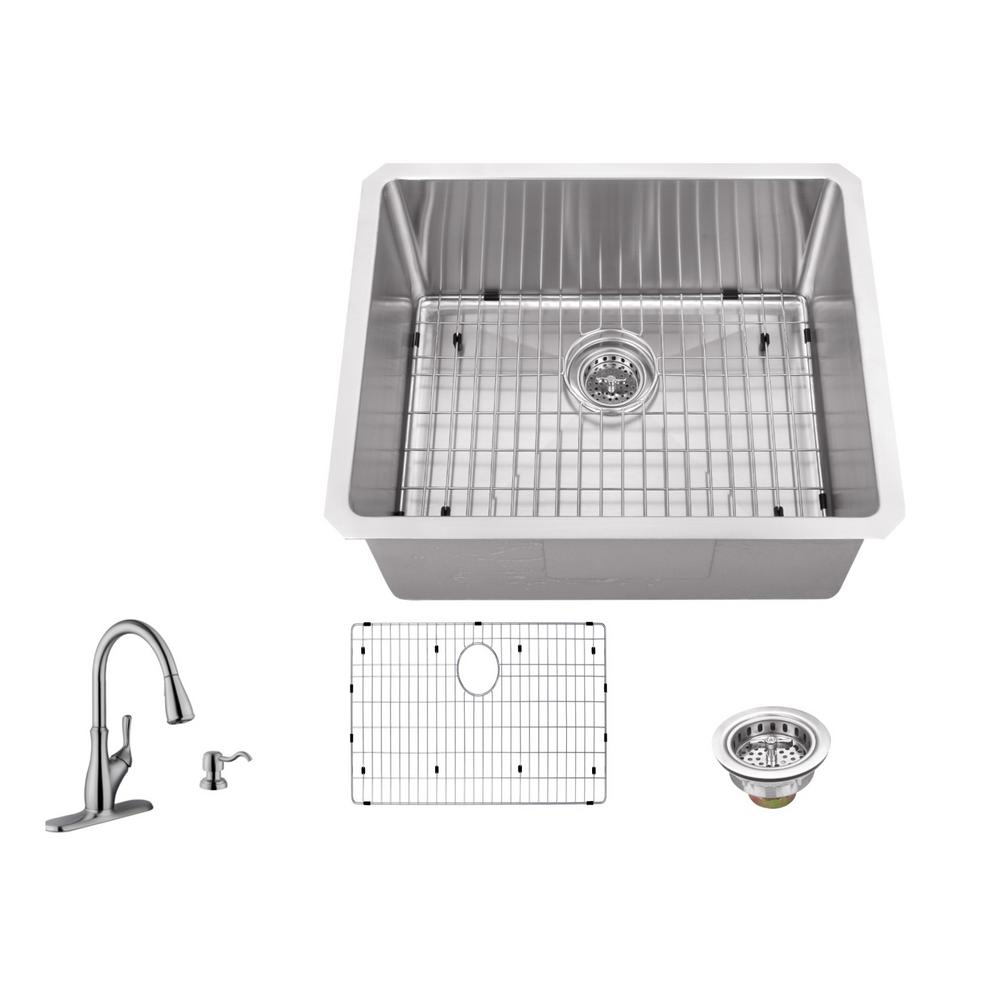 16 Gauge Stainless Steel Bar Sink In Brushed With Gooseneck Faucet