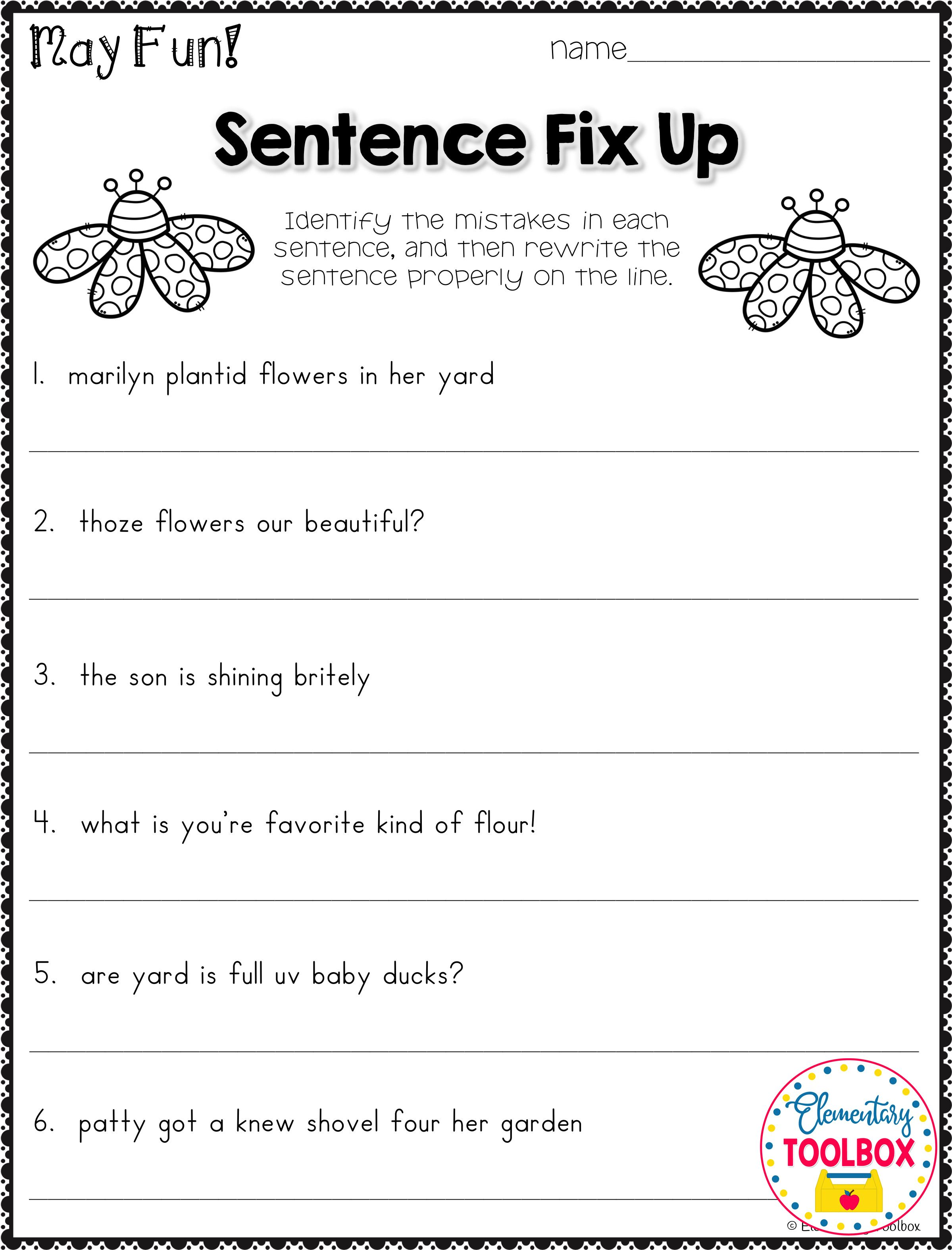 Grammar Worksheet For May 2nd Amp 3rd Grade